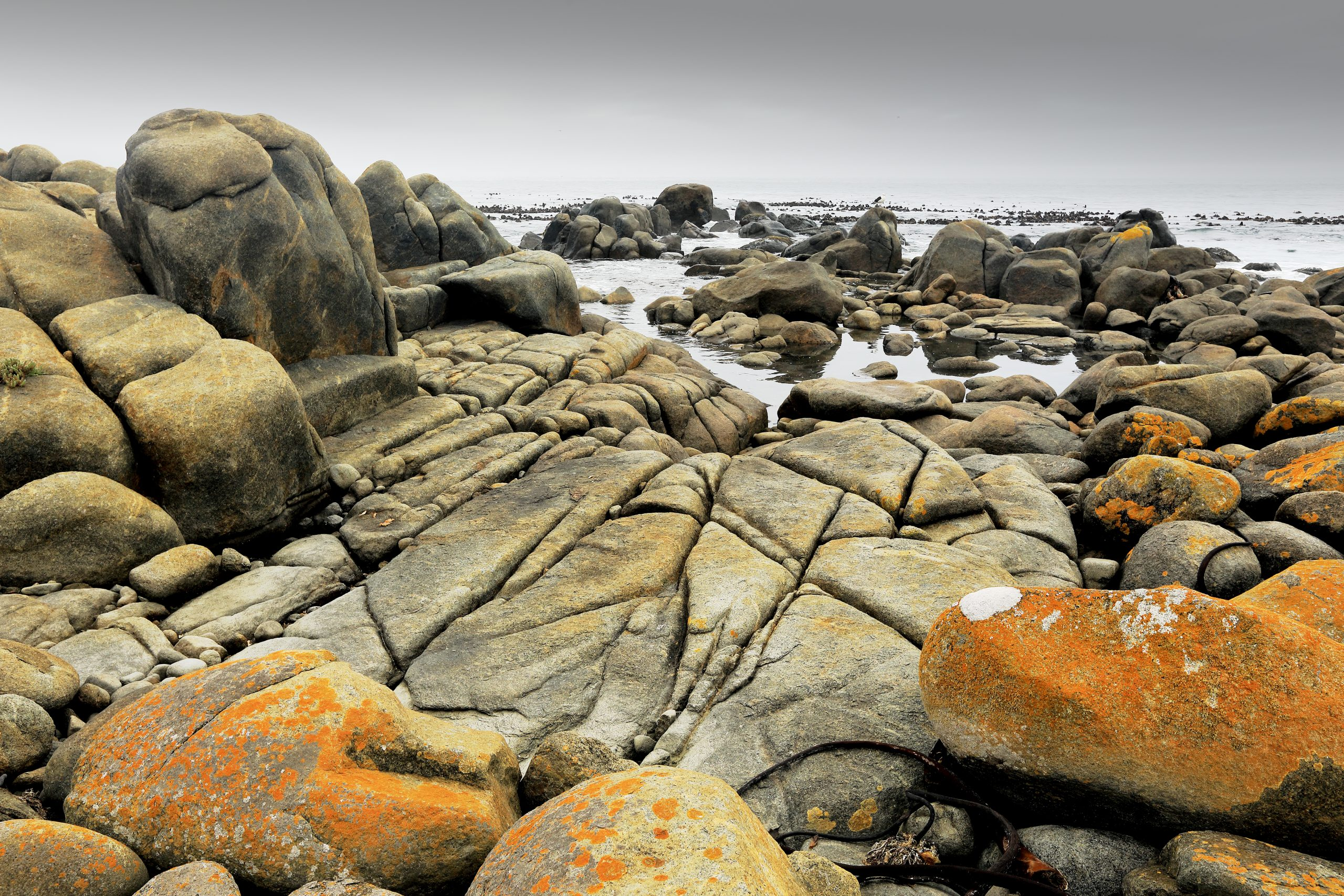 Textured and colourful granite rocks at the shore